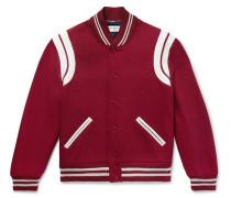 Leather-trimmed Virgin Wool-blend Bomber Jacket - Claret