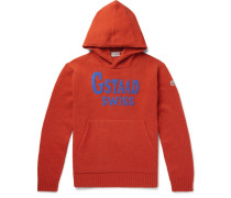Intarsia Wool-blend Hoodie - Orange