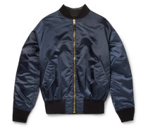 Satin And Denim Bomber Jacket