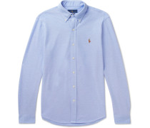 Button-down Collar Cotton-piqué Shirt - Blue