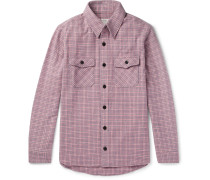 Black Elk Checked Wool, Linen And Silk-blend Flannel Shirt