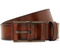 3.5cm Brown Leather Belt - Brown