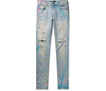 Skinny-fit Distressed Paint-splattered Stretch-denim Jeans - Light denim