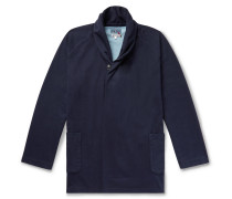 Shawl-Collar Indigo-Dyed Cotton-Jersey Cardigan