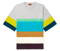 Striped Stretch Linen-blend T-shirt