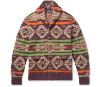 Shawl-collar Suede-trimmed Fair Isle Knitted Cardigan - Multi