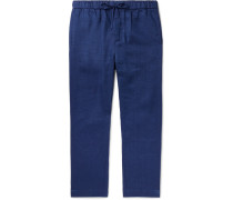 Navy Linen And Cotton-blend Drawstring Trousers - Navy