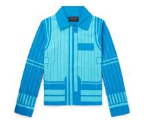 Printed Cotton-canvas Blouson Jacket - Blue