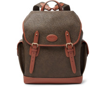 Heritage Leather-trimmed Pebble-grain Coated-canvas Backpack - Green