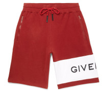 Wide-leg Logo-embroidered Fleece-back Cotton-jersey Drawstring Shorts - Red