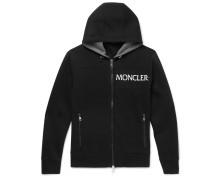 Embroidered Cotton-jersey Zip-up Hoodie - Black