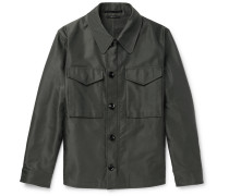 Leather-trimmed Coated Cotton-blend Field Jacket - Army green