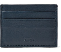Textured-leather Cardholder - Midnight blue