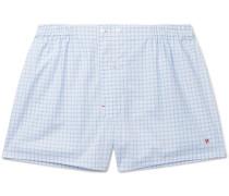 Windowpane-checked Cotton Boxer Shorts - Light blue