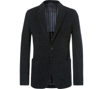 Midnight-blue Slim-fit Upton Unstructured Mélange Bouclé Blazer