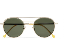 Round-frame Engraved Silver-tone Sunglasses - Green