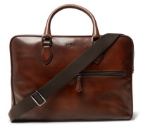 Gloria Polished-leather Briefcase - Brown