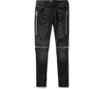 MX2 Skinny-Fit Leather-Panelled Distressed Stretch-Denim Jeans