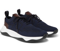 Shadow Leather-Trimmed Mesh Sneakers