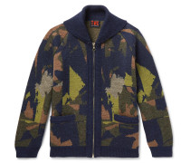 Merino Wool-Jacquard Zip-Up Cardigan