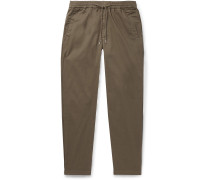 Slim-Fit Tapered Cotton-Twill Drawstring Trousers