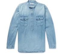 Grandad-Collar Denim Half-Zip Shirt
