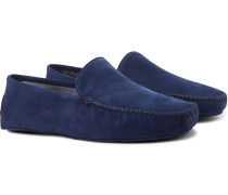 Cashmere-lined Suede Slippers - Blue