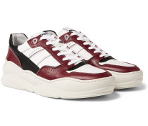 Panelled Leather Sneakers - Red
