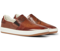 Outline Leather Slip-on Sneakers - Tan