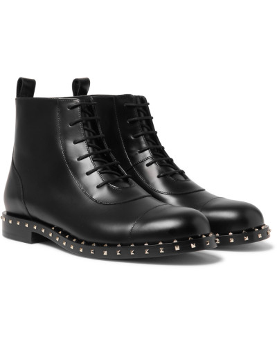 Valentino Garavani Soul Rockstud Polished-leather Boots