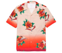 Camp-Collar Printed Tencel and Linen-Blend Shirt