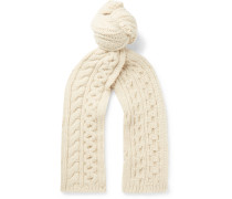 Cable-knit Camel Hair Scarf - Cream