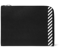 Printed Full-grain Leather Zip-around Pouch - Black