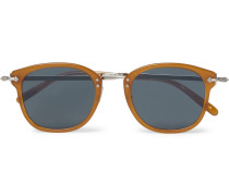 Op-506 D-frame Acetate And Silver-tone Sunglasses