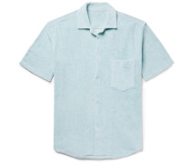Camp-collar Cotton-terry Shirt - Sky blue