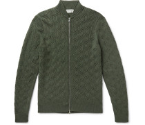 Textured-knit Merino Wool Zip-up Cardigan - Green