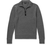 Ribbed Wool And Cashmere-blend Half-zip Sweater - Gray