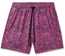 Wide-leg Mid-length Leopard-print Swim Shorts - Pink
