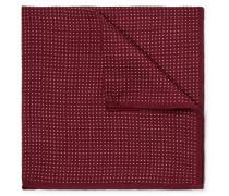 Pin-dot Wool And Silk-blend Pocket Square - Burgundy