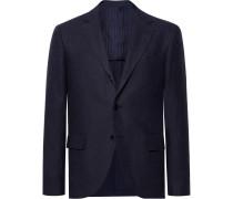 Midnight-blue Slim-fit Linen Blazer
