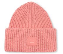 Ribbed Wool Beanie - Pink