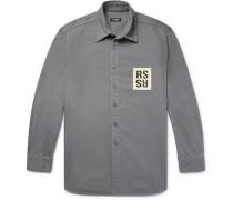 Leather Logo-appliquéd Denim Shirt