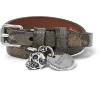 Camouflage-print Full-grain Leather And Silver-tone Wrap Bracelet - Green