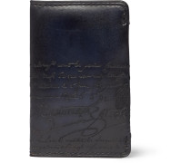 Scritto Embossed Leather Cardholder - Blue