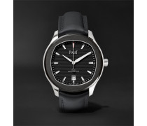 Limited Edition Polo S Automatic 42mm Stainless Steel And Leather Watch - Black