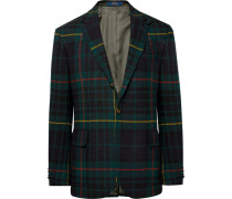 Morgan Slim-fit Nubuck-trimmed Checked Wool And Alpaca-blend Blazer - Green