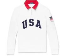 Appliquéd Fleece-back Cotton-blend Jersey Half-zip Sweatshirt - White