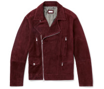 Slim-fit Suede Biker Jacket - Burgundy