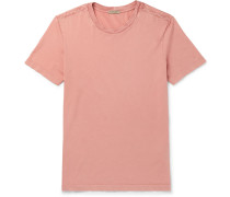 Intrecciato-trimmed Cotton-jersey T-shirt - Pink