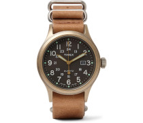 Allied Stainless Steel And Stonewashed Leather Watch - Tan